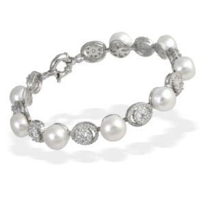 Pulsera de Plata con Perlas y Circonitas Ovaladas