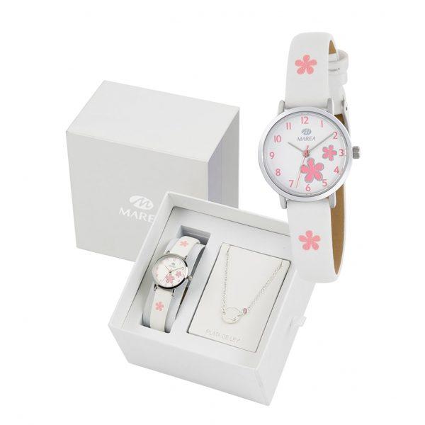 Reloj para Niña en Acero con Correa de piel y flores rosas