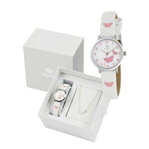 Reloj para Niña en Acero con Correa de piel y mariposas rosas