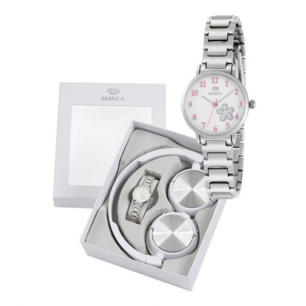 Reloj para Niña en Acero y flores rosas