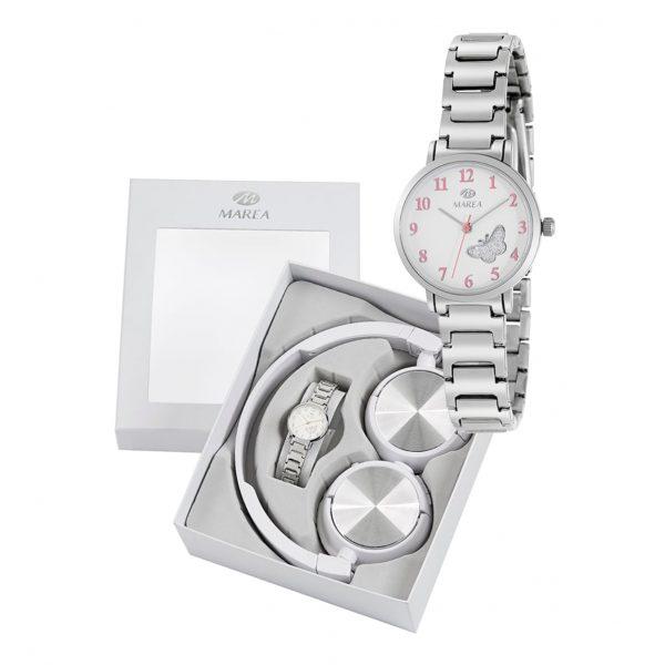 Reloj para Niña en Acero y mariposas rosas