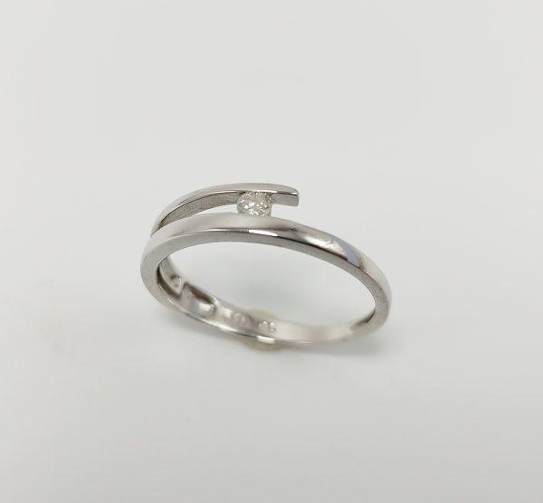 Anillo Oro Blanco diamante Lazo