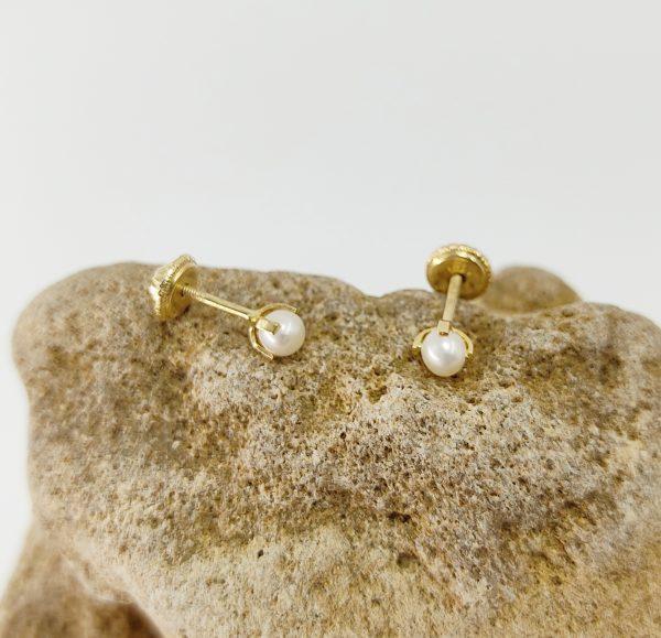 Pendientes Oro Amarillo Perla 3 mm