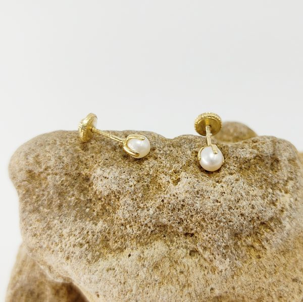 Pendientes Oro Amarillo Perla 4 mm