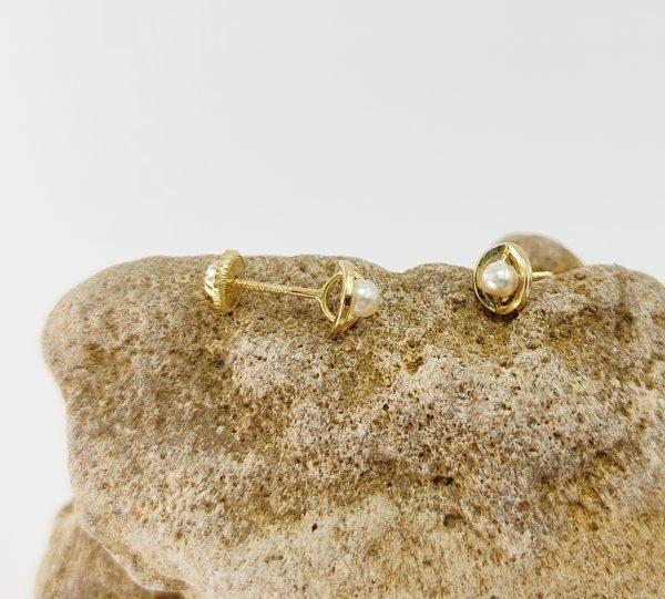 Pendientes Oro Amarillo Perla Ojito