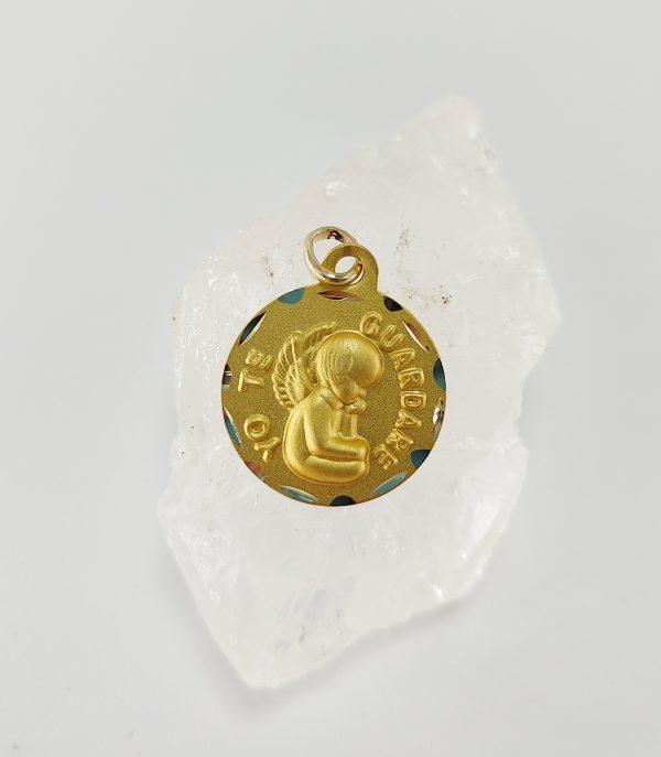 Medalla de Oro amarillo Angel del Guarda