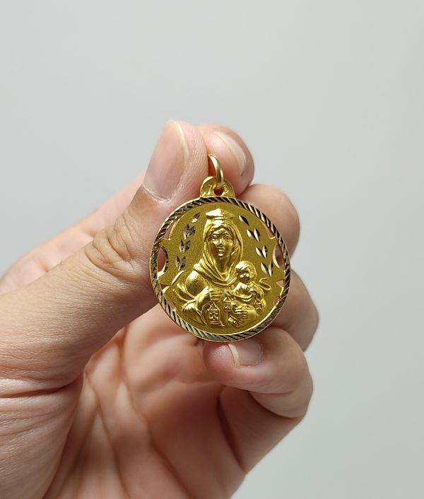 Escapulario de Oro Amarillo Virgen del Carmen