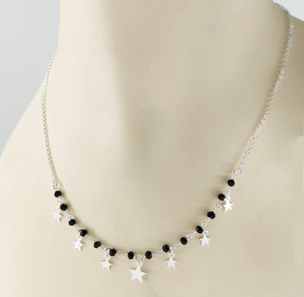 Gargantilla de Plata con estrellas y piedras negras