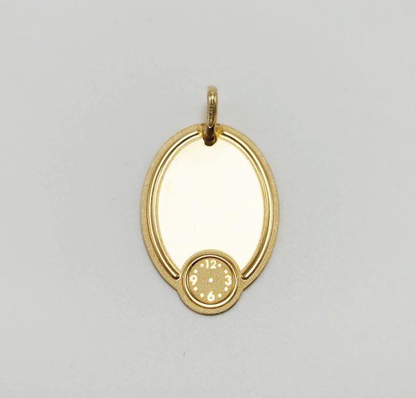 Medalla de Oro Lisa Con Reloj Para Grabar