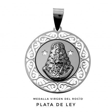 Medalla Plata Virgen del Rocío Calada con Estrellas
