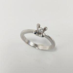 Anillo de Compromiso Oro Blanco y Diamante con 4 Garras