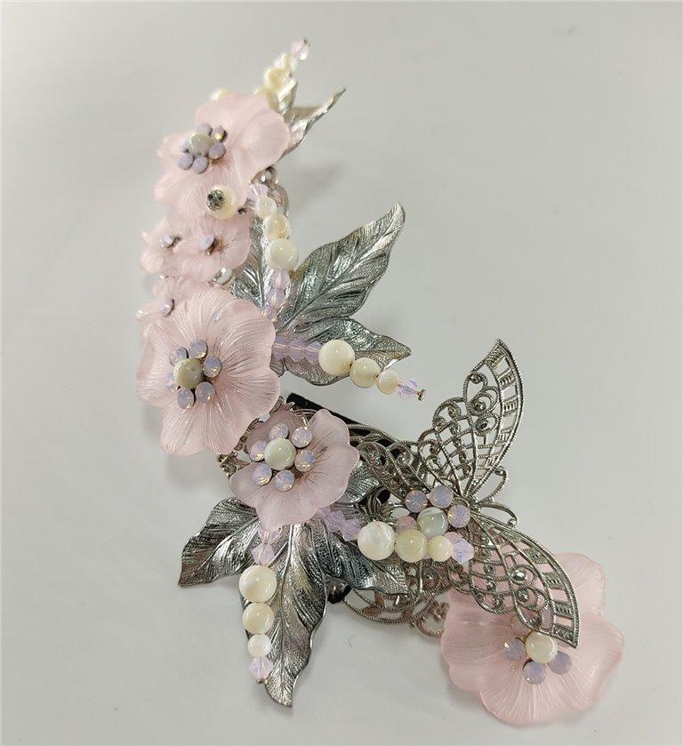 Tocado de Novia Flores Rosas y Mariposa