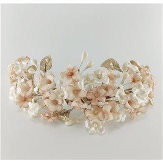 Tocado de Novia Flores Blanco y Nude