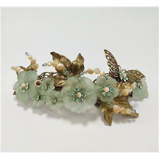 Tocado de Novia Flores Cristal Verdes y Mariposa