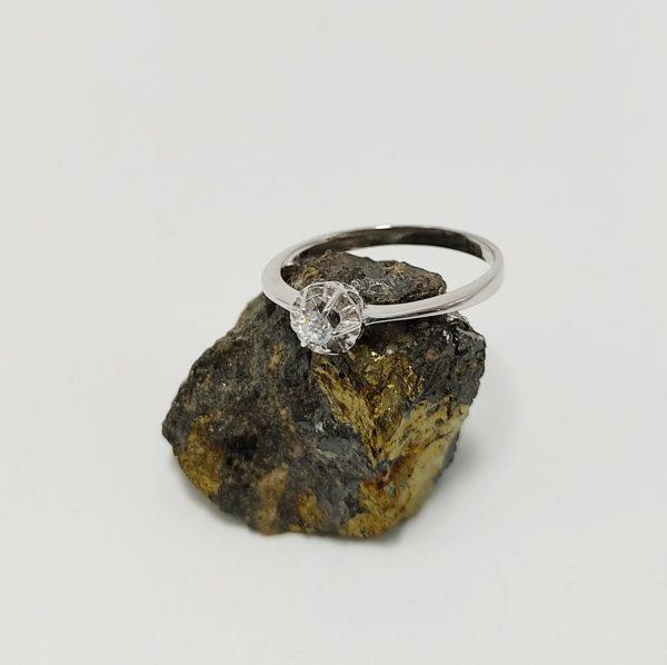 Anillo de Compromiso Oro Blanco y Diamante Grande