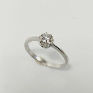 Anillo de Compromiso Oro Blanco y Diamante 6 Garras