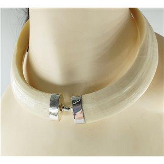 Collar Colmillos de Jabalí Imitación Montados en Plata de Ley Cierre de Mosquetón