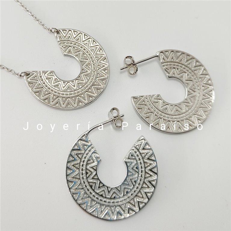 Conjunto Plata Gargantilla y Pendientes diseño Azteca