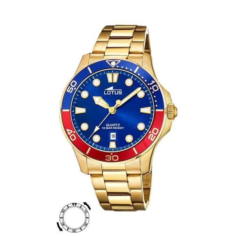 Reloj Lotus Hombre Chapado Bisel Combinado