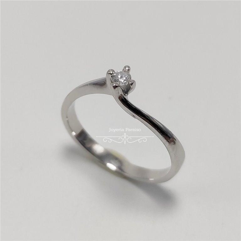 Anillo Compromiso Oro Blanco y Diamante Elevado
