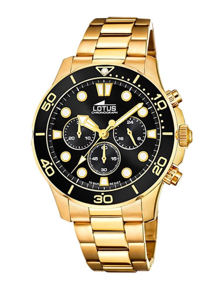 Reloj Lotus Hombre Dorado Esfera Negra