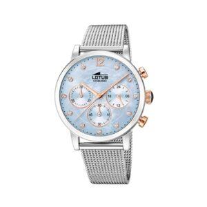 Reloj Lotus Mujer Malla Milanesa Esfera Celeste
