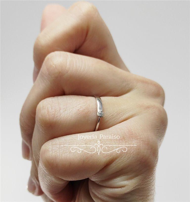 Anillo Compromiso Oro Blanco y Diamante Doble Anchura
