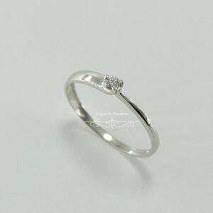 Anillo Compromiso Oro Blanco y Diamante Doble Ancho