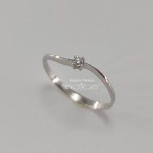 Anillo Compromiso Oro Blanco y Diamante Ondulado