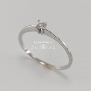 Anillo Compromiso Oro Blanco y Diamante Perfil Fino