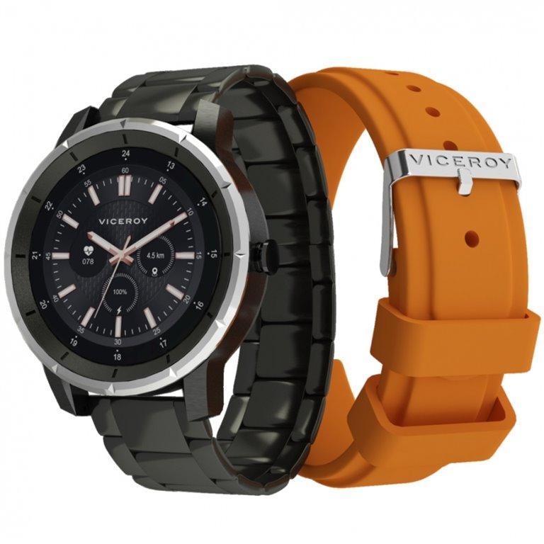 Reloj Negro Viceroy Smart Pro Negro Eslabones y correa Naranja